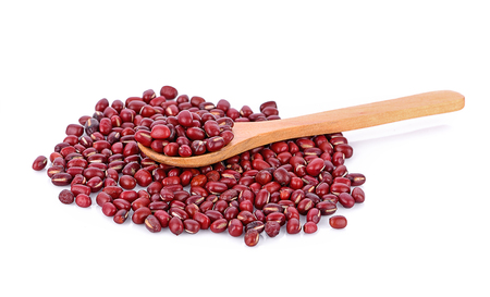 azuki beans , red beans on wooden spoon whitebackground Stock Photo