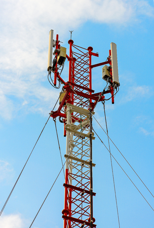 telephone poles: Contract mobile towers Stock Photo