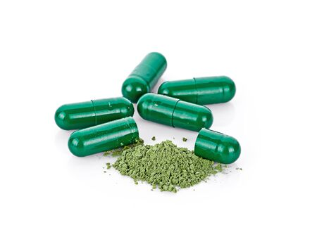 andrographis paniculata herbal antipyretic capsules isolated Stock Photo