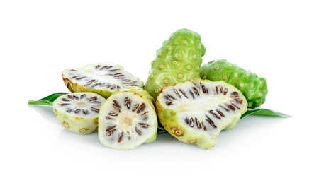 fresh noni on white background.