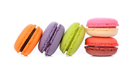 Macaroons or macaron on white background, Dessert