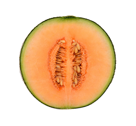 cantaloupe melon isolated on white background Stok Fotoğraf