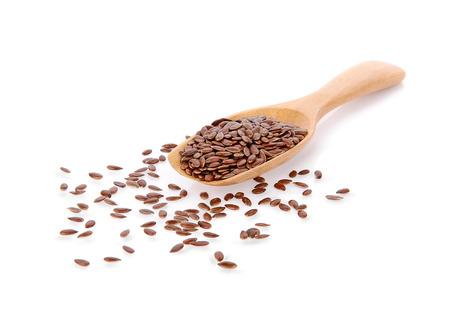 Aislar la semilla de lino sobre fondo blanco. Foto de archivo