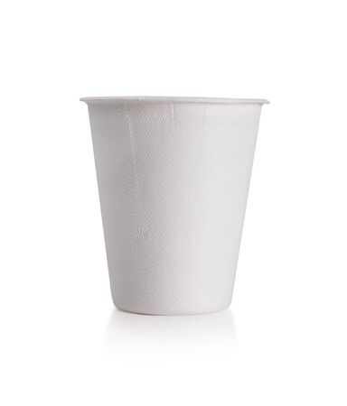White Paper Cup close up  isolate on white Reklamní fotografie