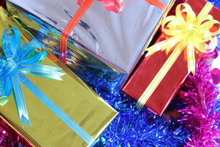 Gift box of multi-colored ribbons arranged beautifully Stock Photo