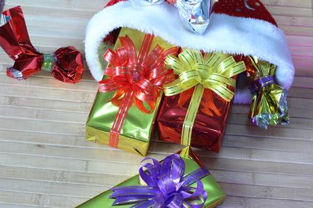 euphoric: Gift box of multi-colored ribbons arranged beautifully Stock Photo