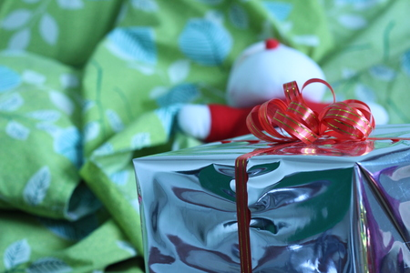 ecstatic: Gift box of multi-colored ribbons arranged beautifully Stock Photo