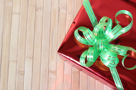 deadpan: Gift box of multi-colored ribbons arranged beautifully Stock Photo