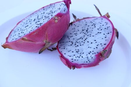 appealing: The red dragon fruits in white plate pretty appealing