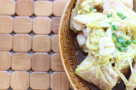 Freshwater fish steamed with ginger, fresh, healthy Stock Photo