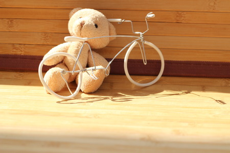 plaything: Cute brown bear doll on brown background
