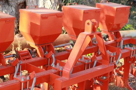The gardening machine parts were removed outdoors Stock Photo