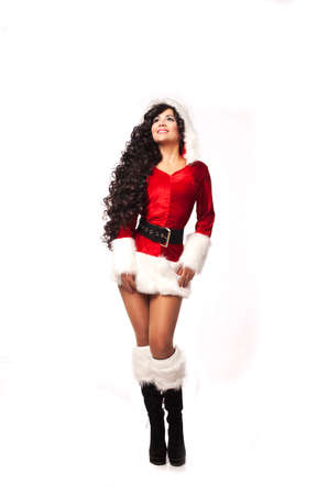 cloath: Portrait of beautiful sexy girl wearing christmas santa claus clothes Stock Photo