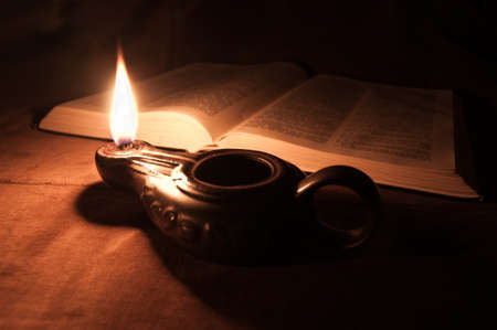 Oil Lamp and Bible photo