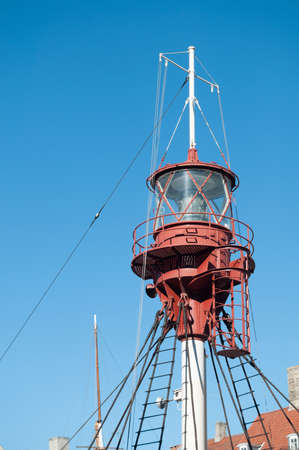Lighttower mounted on a boat Stock Photo