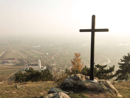 hope: Cross on top of a mountain