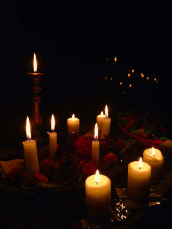closeness: Close-up of several candles Stock Photo