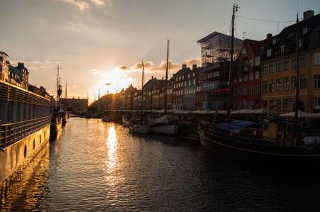Nyhavn at sunset, Copenhagen