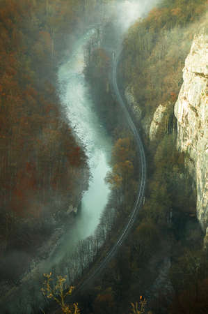 S shaped river and railway
