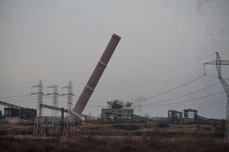 Industrial chimney demolition