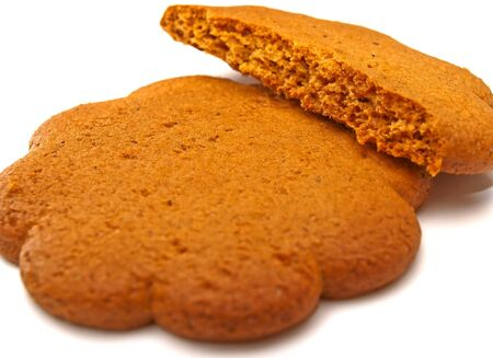 cooky: A ginger cookie, or Christmas cookie on white background