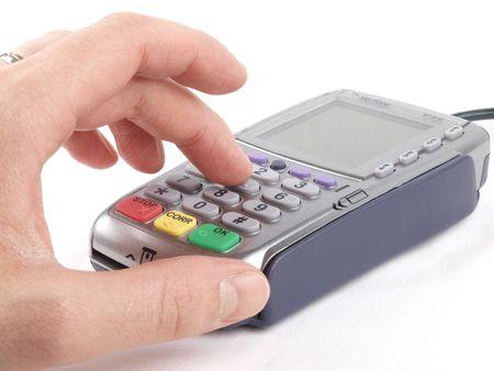 hand business card: Pagamento terminale - codice PIN entrering