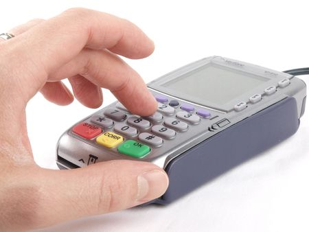 Payment terminal - entrering PIN code Stock Photo