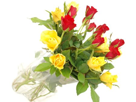 Bouquet of red and yellow roses in a vase