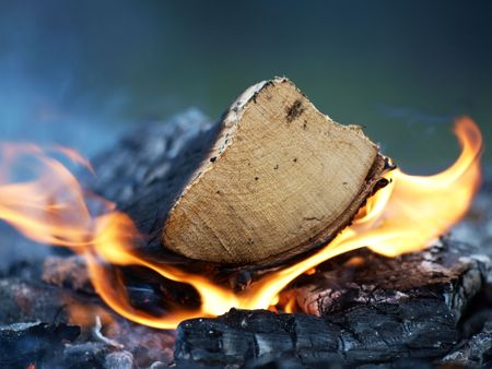 A log burning, flames and smoke on a bonfire Stock Photo - 6878274