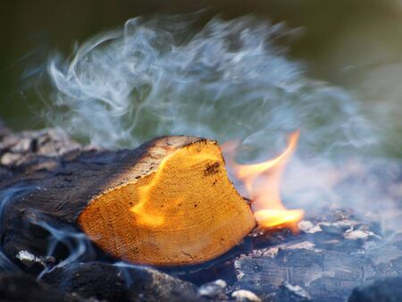 A log burning, flames and smoke on a bonfire Stock Photo - 6878255