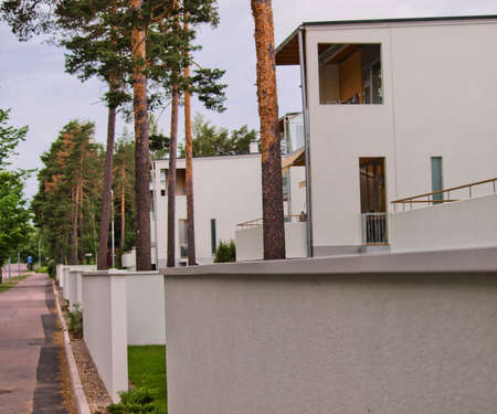 two floors: Modern architecture, north Europe, concrete houses, two floors