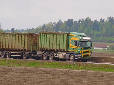 Container trailer, transport