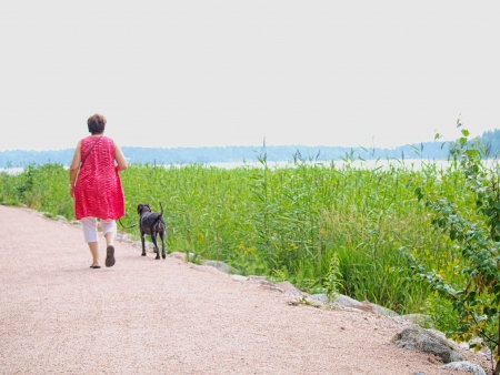 Woman with dog, walking on gravel road, at summer Stock Photo