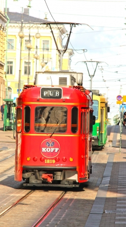 Red pub tram in the capital of Finland, Helsinki