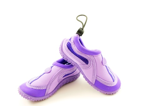 Water shoes, purple, for girls, made for walking in water Stock Photo