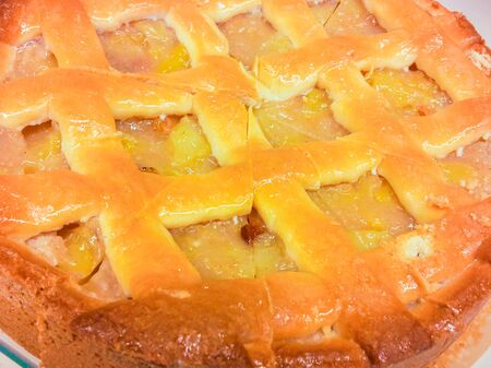 Closeup of a fresh baked apple pie