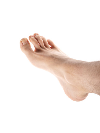 flat foot: Right male foot isolated towards white background, with hair on leg Stock Photo