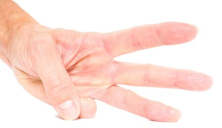 three fingers: Person showing three fingers isolated on white