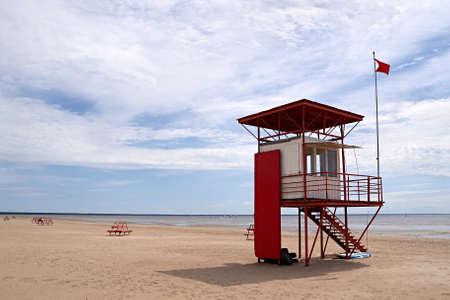 estonia: Lifeguard tower on a beach, Prnu, Estonia