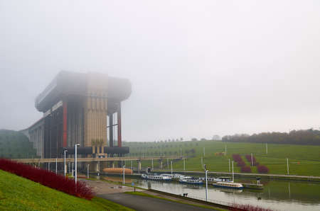 Strepy-Thieu boat lift on the Canal du Centre in municipality Le Roeulx, Walloon, Belgium Stock Photo