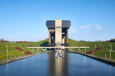 boat lift: Strepy-Thieu boat lift on the Canal du Centre in municipality Le Roeulx, Walloon, Belgium Stock Photo