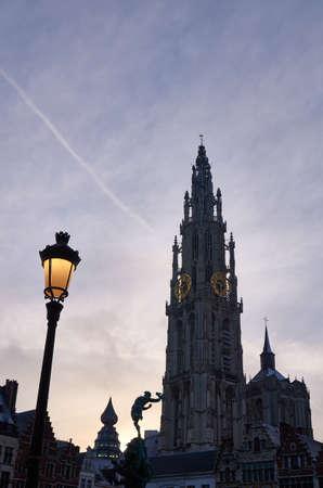 antwerp: Morning view on a catherdral of Antwerp, Belgium