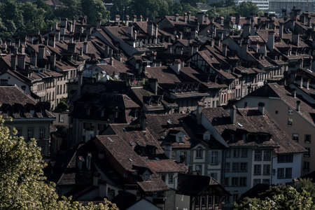 Beautiful rooftops and chimneys in a village Imagens