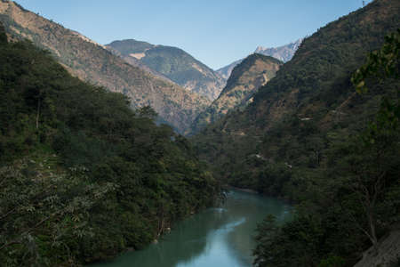 River flowing between the mounatins at Annapurna circuit, Nepal