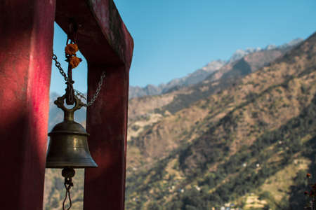 Buddhist bell in the nepalese mountains, Bahundanda, Annapurna circuit