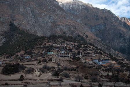 Upper Pisang mountain village, trekking Annapurna circuit, Himalaya, Nepal, Asia