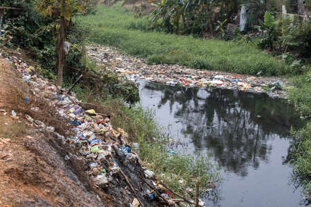 Heaps of plastic waste thrown in an overgrown river, bad for the environment in Bhubaneswar, India