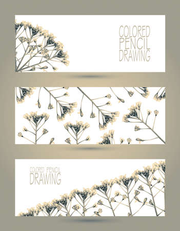 Banners with beautiful spring plants drawn by hand with colored pencils. Pencil drawing. Place for text. Banners for web. Colorful header. Toned black-and-white Stock fotó - 82801015