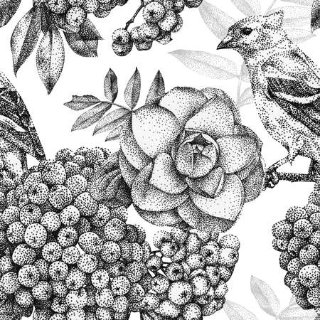 Seamless pattern with different flowers, birds and plants drawn by hand with black ink. 