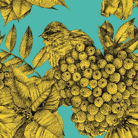 別の花、鳥、植物黒インクで手書きのシームレスなパターン。 グラフィックの描画、点描技法。パターンの塗りつぶし、壁紙、web ページ、表面テク
